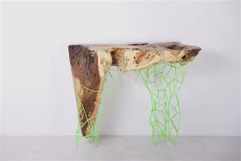 Hexagonal Sofa by Unique Console Tables In Combination Between Natural And