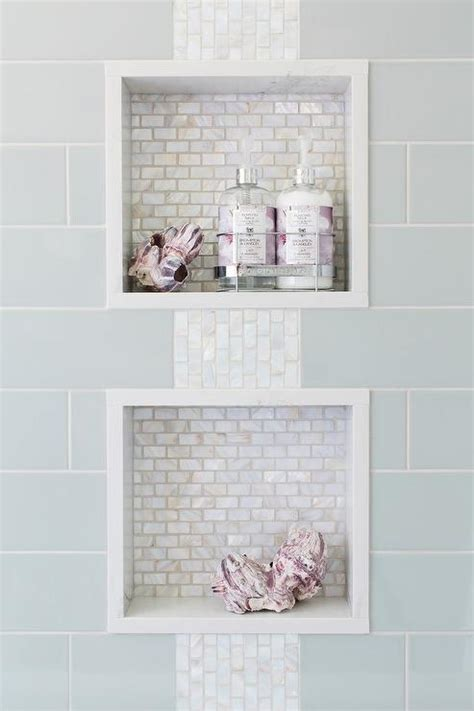 bathroom glass tile ideas blue subway shower tiles frame two white glass mini brick