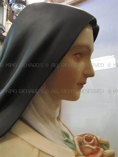st therese  lisieux vintage plaster statue  st