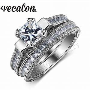 vecalon engagement wedding ring set for women full With princess cut wedding rings for women
