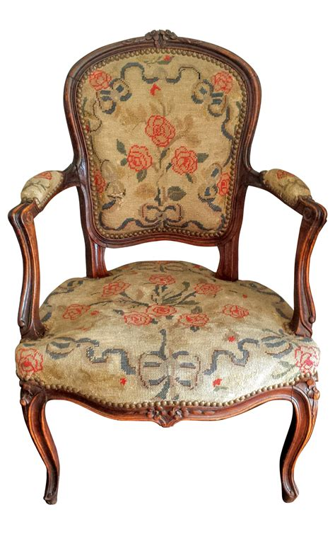 antique louis xv style needlepoint chair chairish