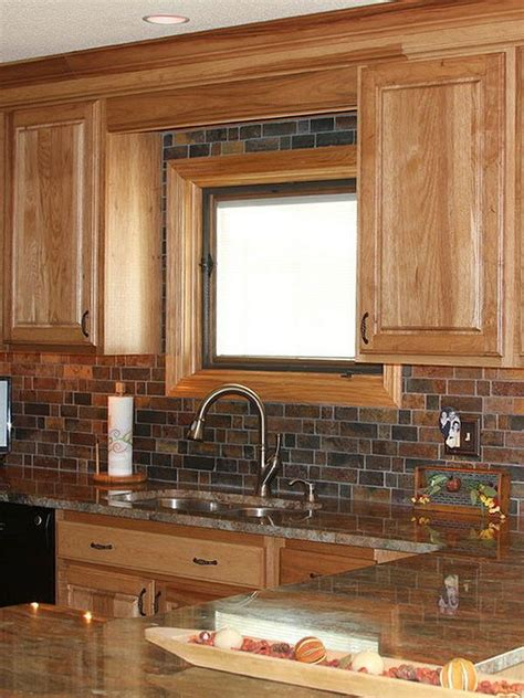 rustic backsplash for kitchen oak cabinet granite countertop with rustic slate mosaic 4958