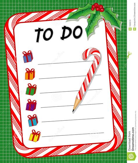 christmas to do gift list candy cane pencil stock vector