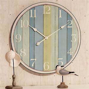 Nautical striped wooden wall clock