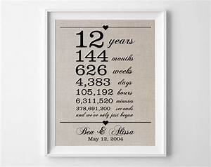 12 years together linen anniversary print 12th With 12th wedding anniversary gifts for him
