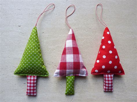 fabric christmas ornaments tree decorations in green red and