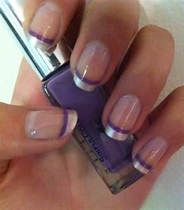 Purple stripe French tip nails   Nail Stuff... an ...
