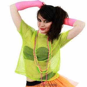 80S MESH TOP NEON FISHNET T SHIRT FANCY DRESS COSTUME 5