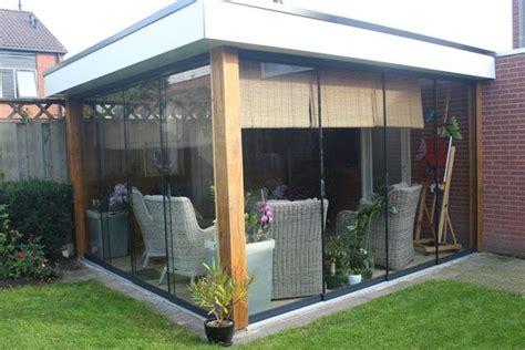tuin zeil broeikas 445 gumax glazen schuifwand in een houten
