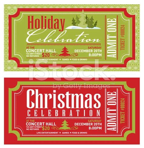 set of christmas concert tickets templates royalty free