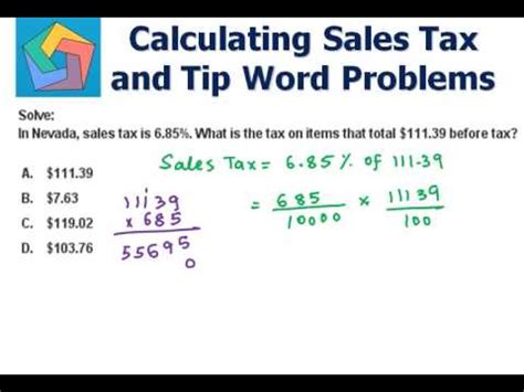 Calculating Sales Tax And Tip Word Problems Youtube