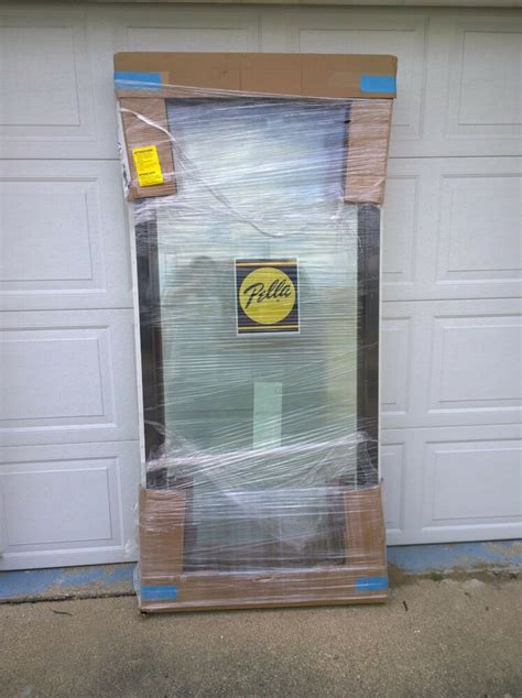 pella brown white home vinyl picture window  tempered glass    ebay