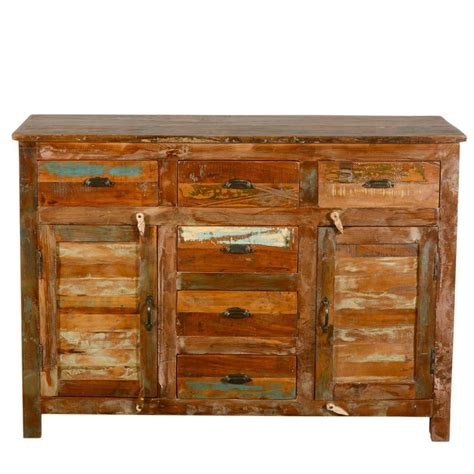 Reclaimed Wood Buffet Sideboard by Pedro Rustic Reclaimed Wood 6 Drawer Sideboard