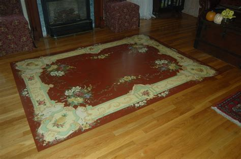 Hand Painted Rug on a Wood Floor   Dining Room   boston