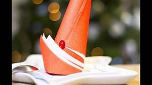 Pliage De Serviette Pour Noel : diy no l pliage de serviette en forme de bonnet de lutin ~ Melissatoandfro.com Idées de Décoration