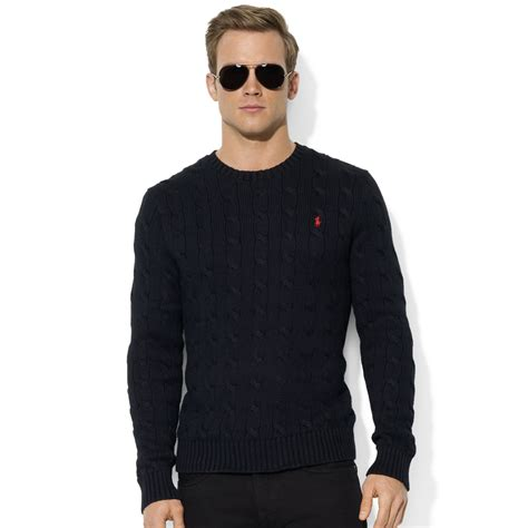 mens black sweater ralph roving crew neck cable cotton sweater in