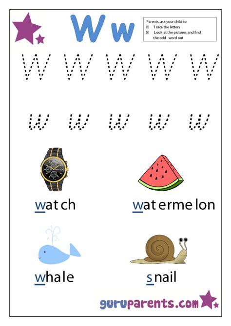 letter w worksheets guruparents