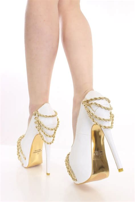 ankle heels gold and white great combination i do day