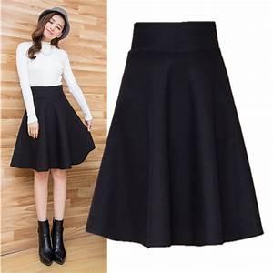 Plus Size Autumn Winter Flared Skirt Pleated Midi Skirt Retro Ladies High Waist Elegant Vintage ...