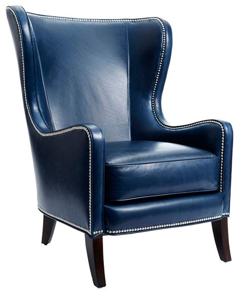 dempsey leather wingback navy contemporary armchairs