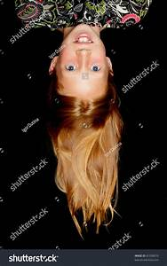 Beautiful, Girl, With, Long, Red, Hair, Hanging, Upside, Down