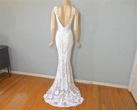 Crochet Lace Bohemian Wedding Dress Mermaid Wedding Dress