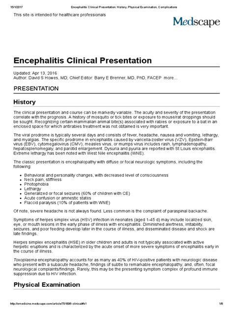 Encephalitis Clinical Presentation_ History, Physical Examination, Complications | Meningitis