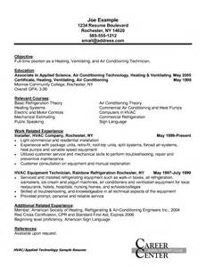 Hvac Installer Resume Exles by Hvac Installer Resume Sle Resumes Design