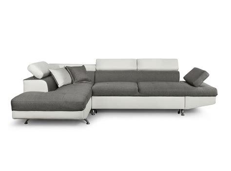 canapé d angle gauche canapé d 39 angle en simili cuir et tissu gauche blanc gris