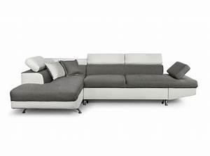 Canape d39angle en simili cuir et tissu gauche blanc gris for Canapé convertible avec tapis rond gris
