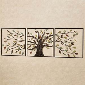 ever changing brown tree metal wall art set With metallic wall art