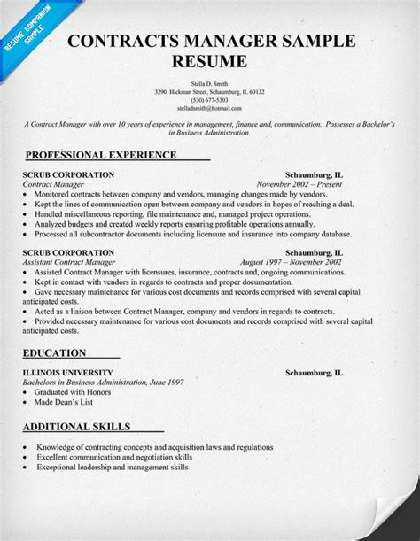 Contract Supervisor Resume by Contracts Manager Resume Sle Resume Sles