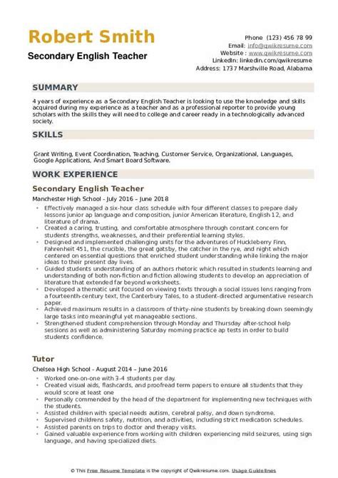 secondary english teacher resume sles qwikresume
