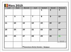 Calendrier mars 2019, Belgique Michel Zbinden fr
