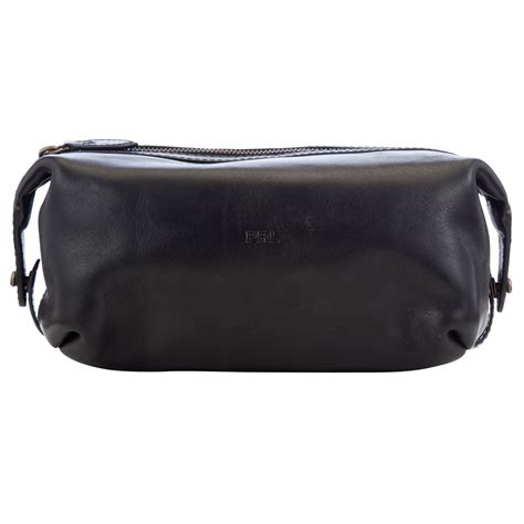 lyst polo ralph leather wash bag in black for