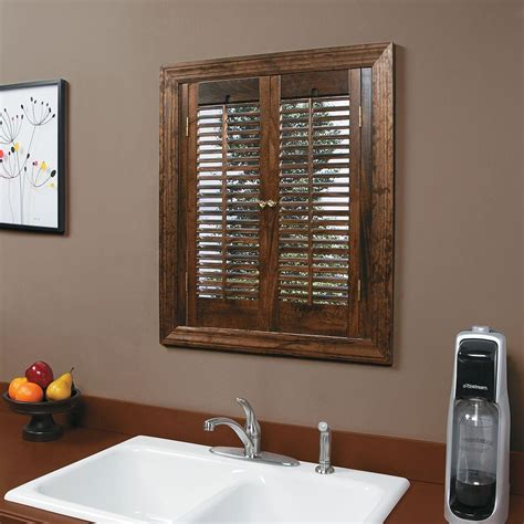 home depot wood shutters interior homebasics traditional wood walnut interior shutter