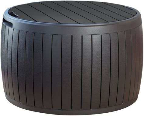 Outdoor Round Storage Ottoman Footrest Coffee Table Patio