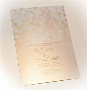gold and blush bokeh wedding invitation printed on With wedding invitations on photo paper