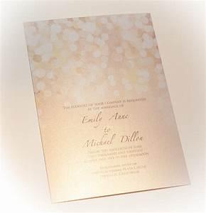 gold and blush bokeh wedding invitation printed on With paper to print wedding invitations on