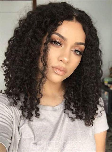 ericdress center part kinky curly medium synthetic hair