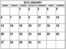 2013 January Calendar calendars Pinterest