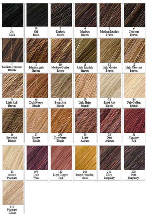 List Different Hair Colors by Hair Colour Chart A Listlacehair