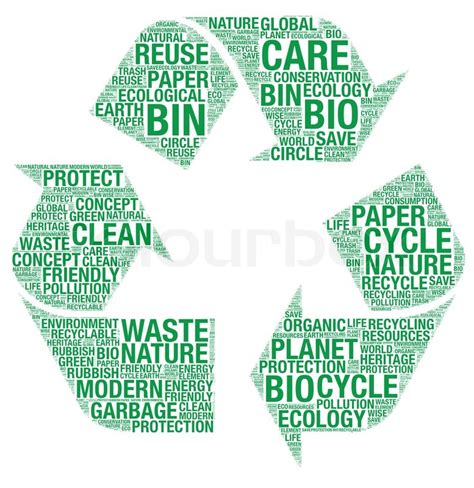 Vector Recycle Symbol With Wordart  Stock Vector Colourbox