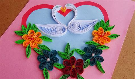 Quilled birds for greeting card - Paper Quilling