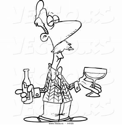 Wine Cartoon Coloring Outline Male Taster Toonaday
