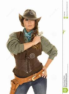 Cowgirl With Gun And Holster Arm At Shoulder Stock Photo ...