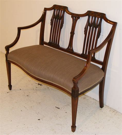 Chair Settee by An Edwardian Mahogany Hepplewhite Style Chair Back Settee