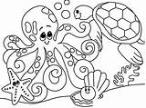 Coloring Sea Under Pages Ocean Themed Animals sketch template