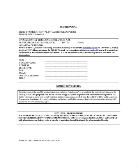 Bid Free Catering Template 9 Free Word Pdf Documents