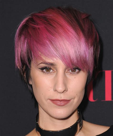 And Black Two Tone Hairstyles by Dev Casual Hairstyle With Razor Cut Bangs